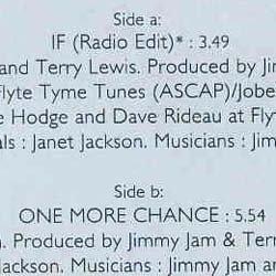 画像3: JANET JACKSON / IF & ONE MORE CHANCE (7インチ) [◎中古レア盤◎お宝ジャケ!希少7インチのみの音源!]