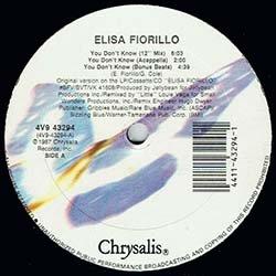 画像2: ELISA FIORILLO / YOU DON'T KNOW (米原盤/ロングMIX) [◎中古レア盤◎貴重な美品!初回ステッカー付原盤!]