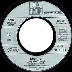 """画像3: SHANNON / GIVE ME TONIGHT (7インチMIX) [◎中古レア盤◎お宝!西ドイツ版ジャケ!7""""MIX + インスト!]"""