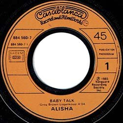 """画像3: ALISHA / BABY TALK (7インチMIX) [◎中古レア盤◎お宝!別タイプのフランス版ジャケ7""""MIX!哀愁マハラジャ!]"""